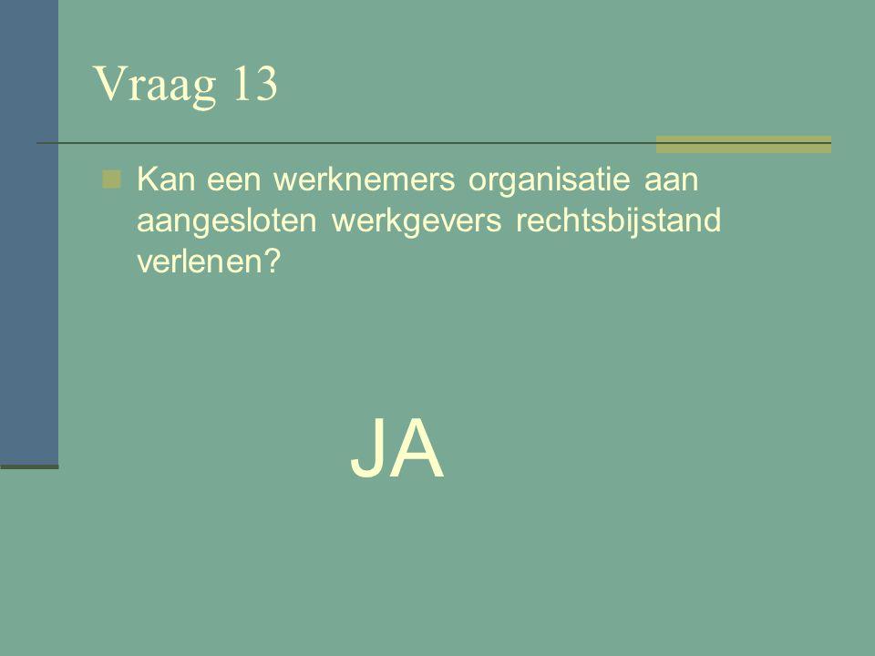 Vraag 12 Zet de vakbeweging zich in voor de rechten van werknemers? JA