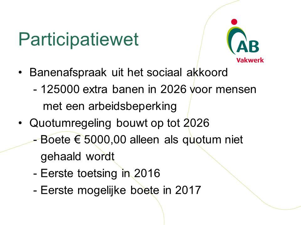 Participatiewet Banenafspraak uit het sociaal akkoord - 125000 extra banen in 2026 voor mensen met een arbeidsbeperking Quotumregeling bouwt op tot 2026 - Boete € 5000,00 alleen als quotum niet gehaald wordt - Eerste toetsing in 2016 - Eerste mogelijke boete in 2017