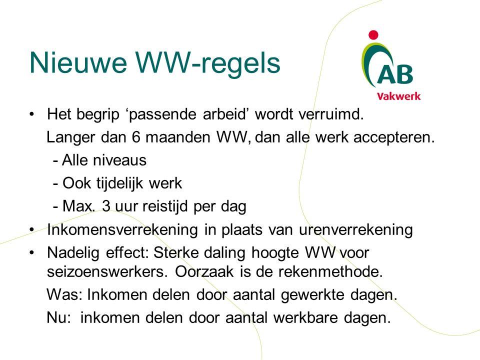 Nieuwe WW-regels Het begrip 'passende arbeid' wordt verruimd.