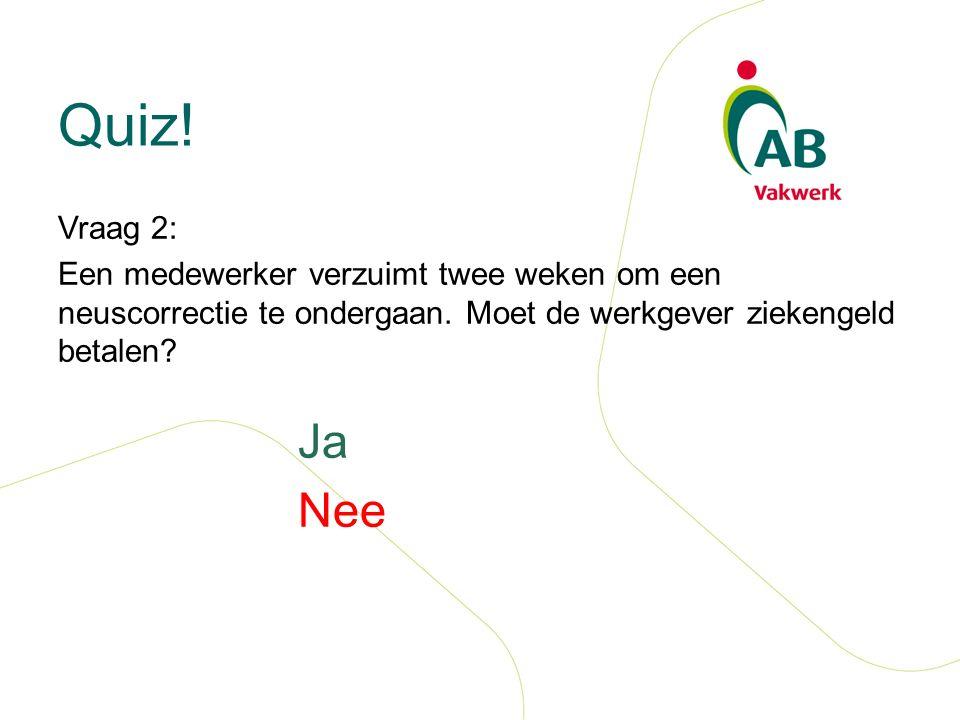 Quiz. Vraag 2: Een medewerker verzuimt twee weken om een neuscorrectie te ondergaan.