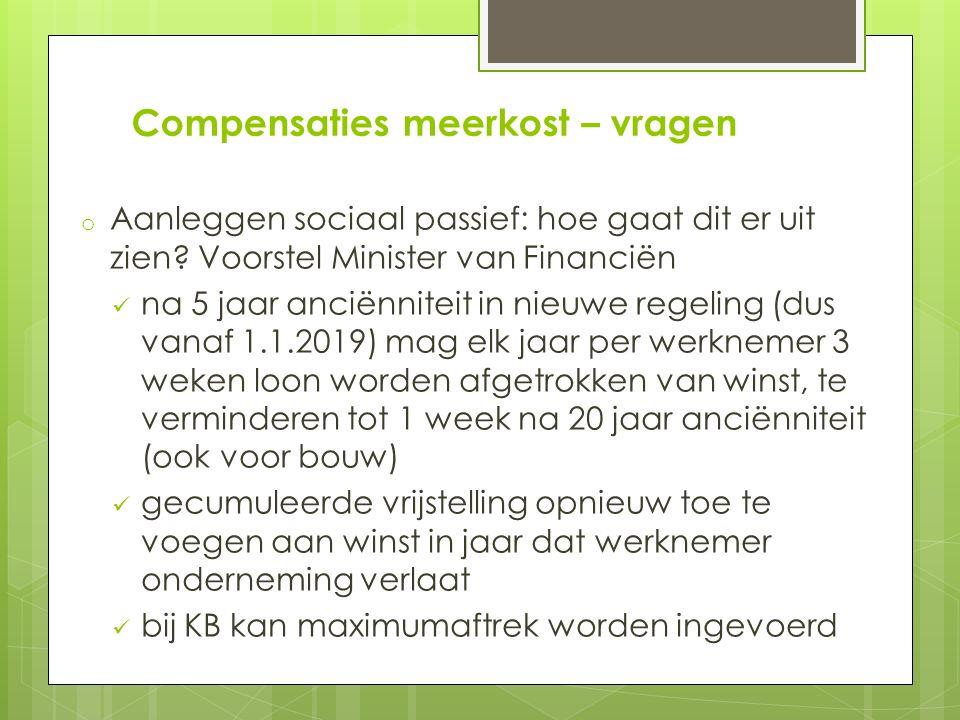 Compensaties meerkost – vragen o Aanleggen sociaal passief: hoe gaat dit er uit zien.
