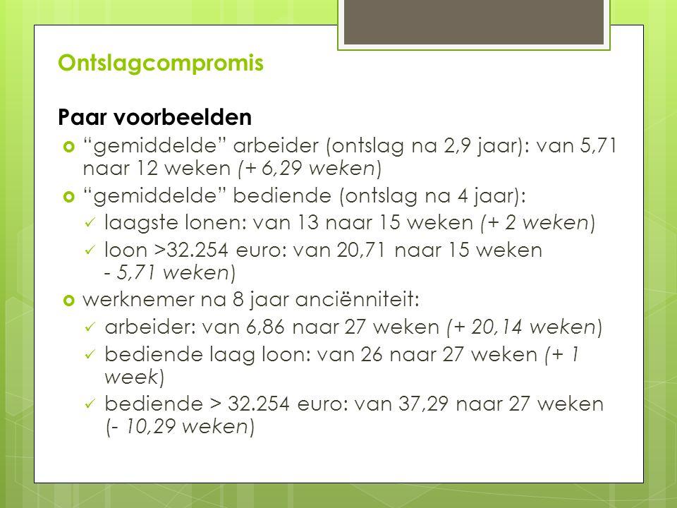 Ontslagcompromis Paar voorbeelden  gemiddelde arbeider (ontslag na 2,9 jaar): van 5,71 naar 12 weken (+ 6,29 weken)  gemiddelde bediende (ontslag na 4 jaar): laagste lonen: van 13 naar 15 weken (+ 2 weken) loon >32.254 euro: van 20,71 naar 15 weken - 5,71 weken)  werknemer na 8 jaar anciënniteit: arbeider: van 6,86 naar 27 weken (+ 20,14 weken) bediende laag loon: van 26 naar 27 weken (+ 1 week) bediende > 32.254 euro: van 37,29 naar 27 weken (- 10,29 weken)