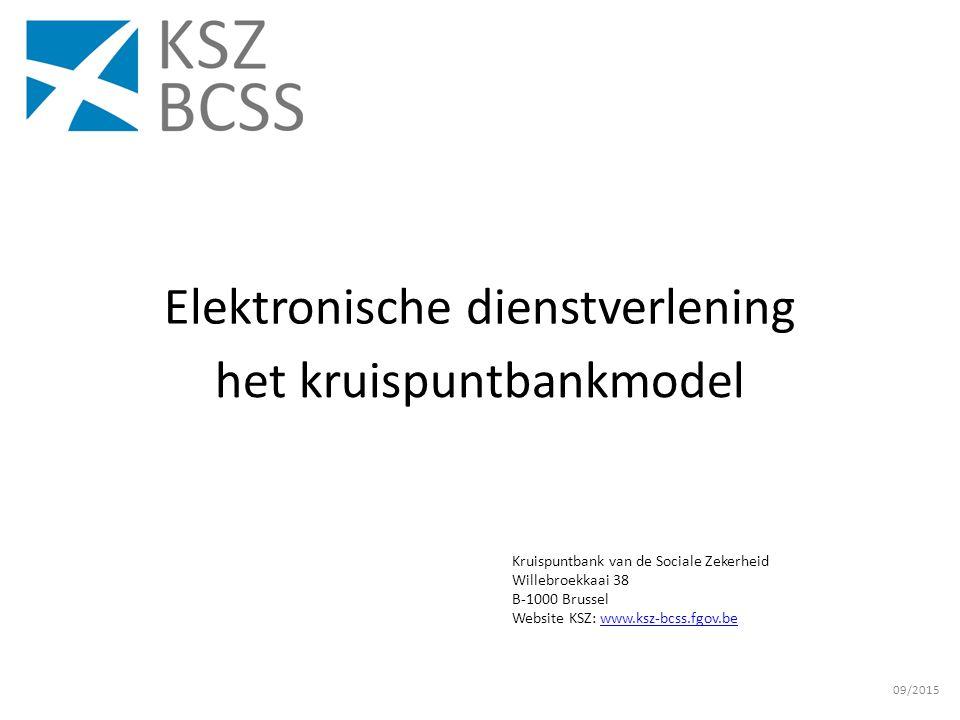 Kruispuntbank van de Sociale Zekerheid Willebroekkaai 38 B-1000 Brussel Website KSZ: www.ksz-bcss.fgov.bewww.ksz-bcss.fgov.be Elektronische dienstverlening het kruispuntbankmodel 09/2015