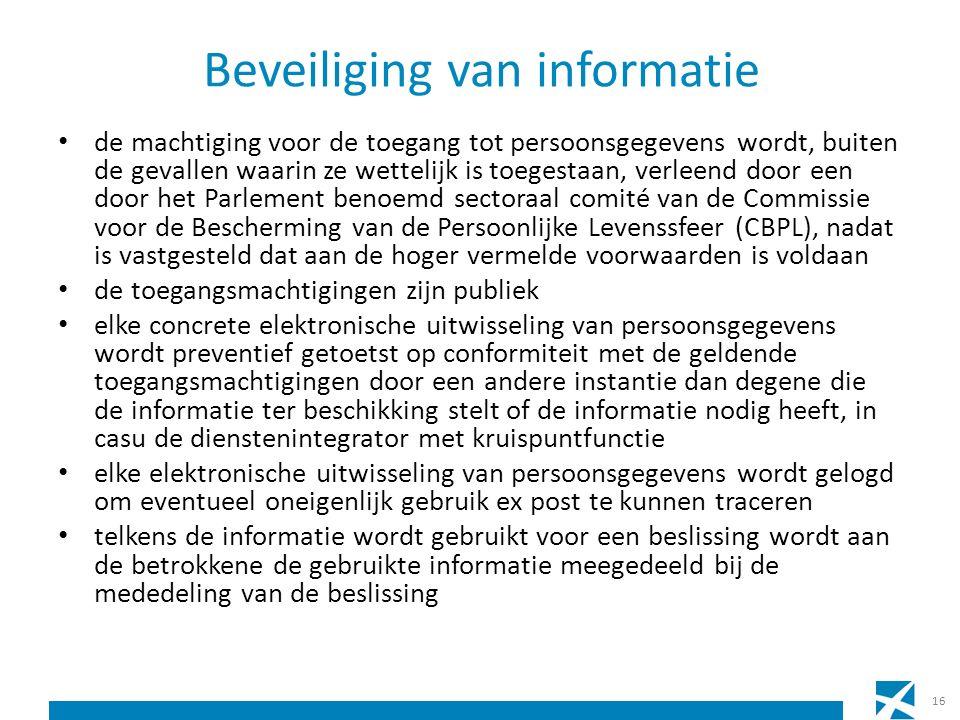 Beveiliging van informatie de machtiging voor de toegang tot persoonsgegevens wordt, buiten de gevallen waarin ze wettelijk is toegestaan, verleend do