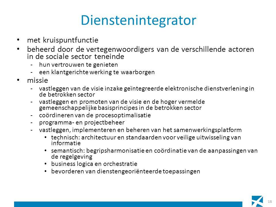 Dienstenintegrator met kruispuntfunctie beheerd door de vertegenwoordigers van de verschillende actoren in de sociale sector teneinde -hun vertrouwen