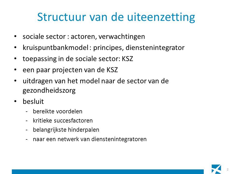 Structuur van de uiteenzetting sociale sector : actoren, verwachtingen kruispuntbankmodel : principes, dienstenintegrator toepassing in de sociale sec