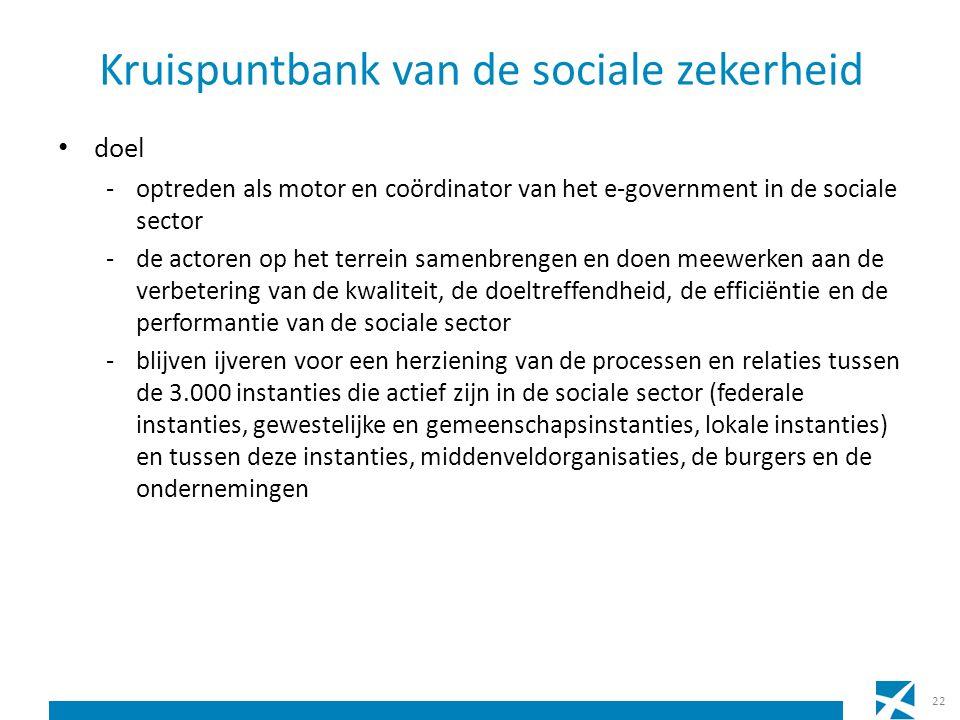 Kruispuntbank van de sociale zekerheid doel -optreden als motor en coördinator van het e-government in de sociale sector -de actoren op het terrein sa