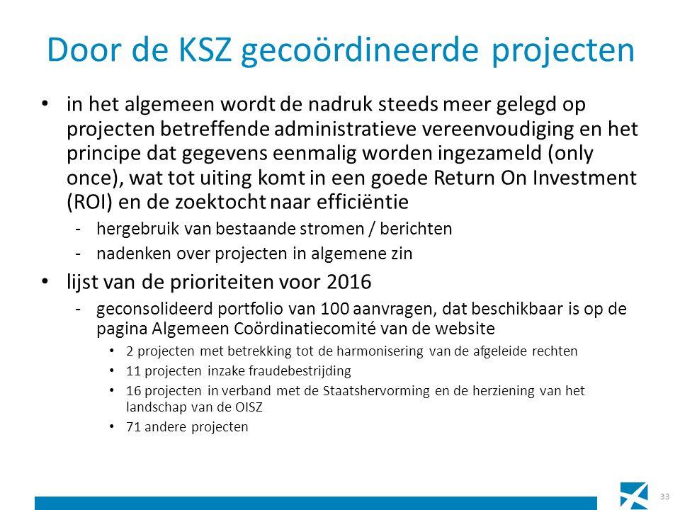 Door de KSZ gecoördineerde projecten in het algemeen wordt de nadruk steeds meer gelegd op projecten betreffende administratieve vereenvoudiging en het principe dat gegevens eenmalig worden ingezameld (only once), wat tot uiting komt in een goede Return On Investment (ROI) en de zoektocht naar efficiëntie -hergebruik van bestaande stromen / berichten -nadenken over projecten in algemene zin lijst van de prioriteiten voor 2016 -geconsolideerd portfolio van 100 aanvragen, dat beschikbaar is op de pagina Algemeen Coördinatiecomité van de website 2 projecten met betrekking tot de harmonisering van de afgeleide rechten 11 projecten inzake fraudebestrijding 16 projecten in verband met de Staatshervorming en de herziening van het landschap van de OISZ 71 andere projecten 33