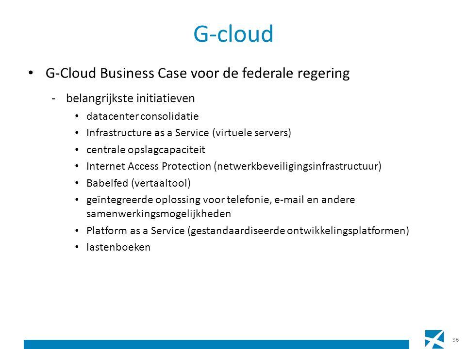 G-cloud G-Cloud Business Case voor de federale regering -belangrijkste initiatieven datacenter consolidatie Infrastructure as a Service (virtuele serv