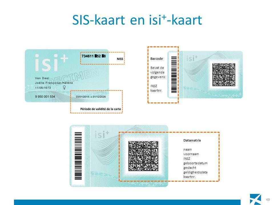 SIS-kaart en isi + -kaart 49 Barcode Bevat de volgende gegevens: INSZ kaartnr. Datamatrix naam voornaam INSZ geboortedatum geslacht geldigheidsdata ka
