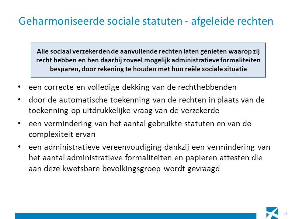 Geharmoniseerde sociale statuten - afgeleide rechten een correcte en volledige dekking van de rechthebbenden door de automatische toekenning van de re