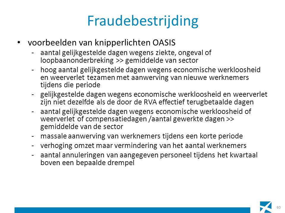 Fraudebestrijding voorbeelden van knipperlichten OASIS -aantal gelijkgestelde dagen wegens ziekte, ongeval of loopbaanonderbreking >> gemiddelde van s