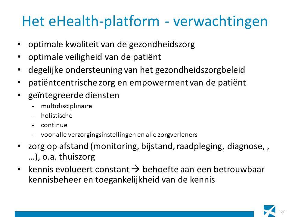 Het eHealth-platform - verwachtingen optimale kwaliteit van de gezondheidszorg optimale veiligheid van de patiënt degelijke ondersteuning van het gezondheidszorgbeleid patiëntcentrische zorg en empowerment van de patiënt geïntegreerde diensten -multidisciplinaire -holistische -continue -voor alle verzorgingsinstellingen en alle zorgverleners zorg op afstand (monitoring, bijstand, raadpleging, diagnose,, …), o.a.
