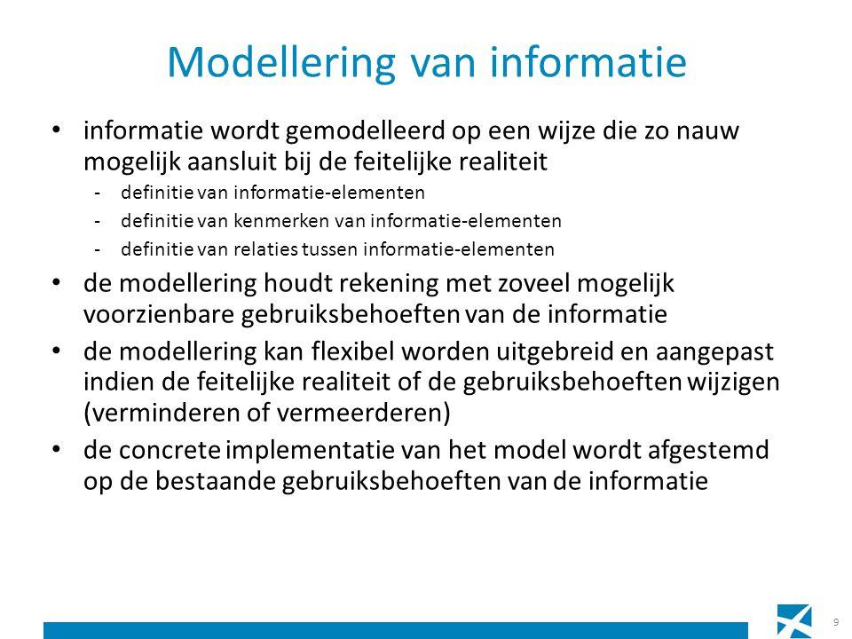 Modellering van informatie informatie wordt gemodelleerd op een wijze die zo nauw mogelijk aansluit bij de feitelijke realiteit -definitie van informatie-elementen -definitie van kenmerken van informatie-elementen -definitie van relaties tussen informatie-elementen de modellering houdt rekening met zoveel mogelijk voorzienbare gebruiksbehoeften van de informatie de modellering kan flexibel worden uitgebreid en aangepast indien de feitelijke realiteit of de gebruiksbehoeften wijzigen (verminderen of vermeerderen) de concrete implementatie van het model wordt afgestemd op de bestaande gebruiksbehoeften van de informatie 9