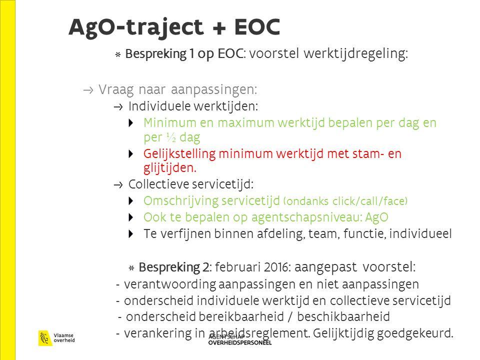 AgO-traject + EOC * Bespreking 1 op EOC: voorstel werktijdregeling: Vraag naar aanpassingen: Individuele werktijden: Minimum en maximum werktijd bepalen per dag en per ½ dag Gelijkstelling minimum werktijd met stam- en glijtijden.