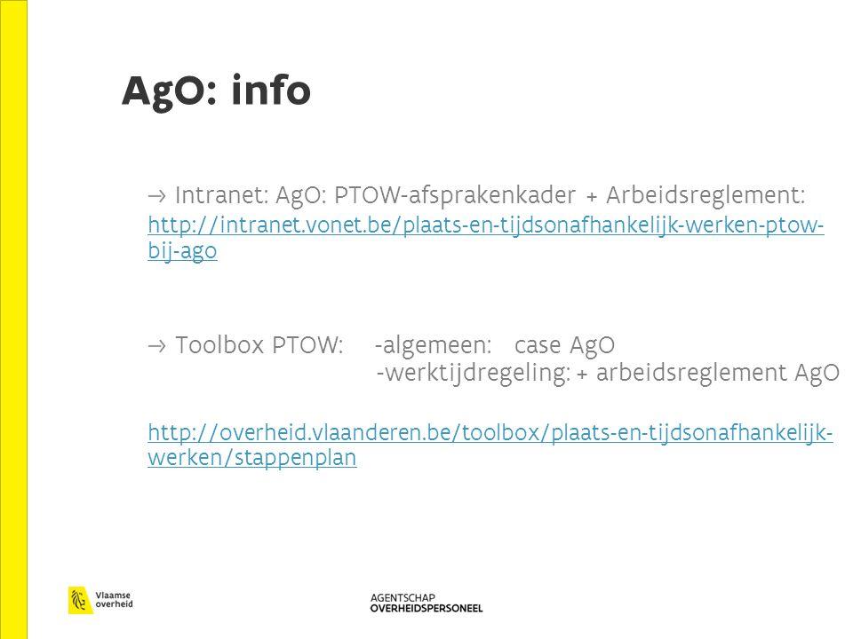 AgO: info Intranet: AgO: PTOW-afsprakenkader + Arbeidsreglement: http://intranet.vonet.be/plaats-en-tijdsonafhankelijk-werken-ptow- bij-ago Toolbox PTOW: -algemeen: case AgO -werktijdregeling: + arbeidsreglement AgO http://overheid.vlaanderen.be/toolbox/plaats-en-tijdsonafhankelijk- werken/stappenplan