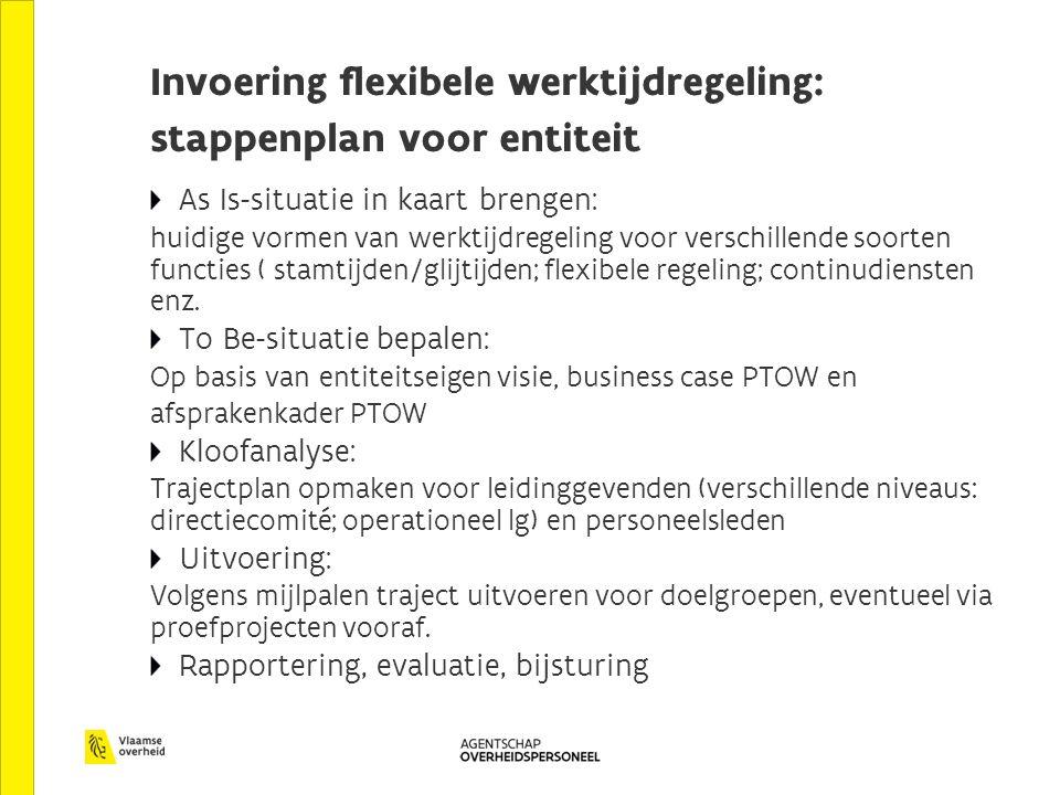 Invoering flexibele werktijdregeling: stappenplan voor entiteit As Is-situatie in kaart brengen: huidige vormen van werktijdregeling voor verschillende soorten functies ( stamtijden/glijtijden; flexibele regeling; continudiensten enz.