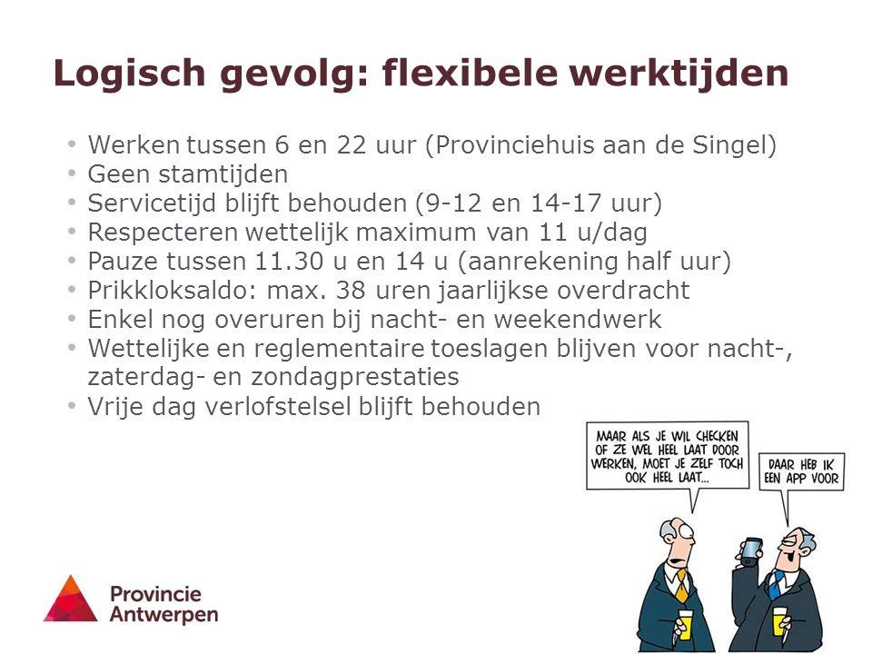 5 - 30/03/2016 Logisch gevolg: flexibele werktijden Werken tussen 6 en 22 uur (Provinciehuis aan de Singel) Geen stamtijden Servicetijd blijft behouden (9-12 en 14-17 uur) Respecteren wettelijk maximum van 11 u/dag Pauze tussen 11.30 u en 14 u (aanrekening half uur) Prikkloksaldo: max.