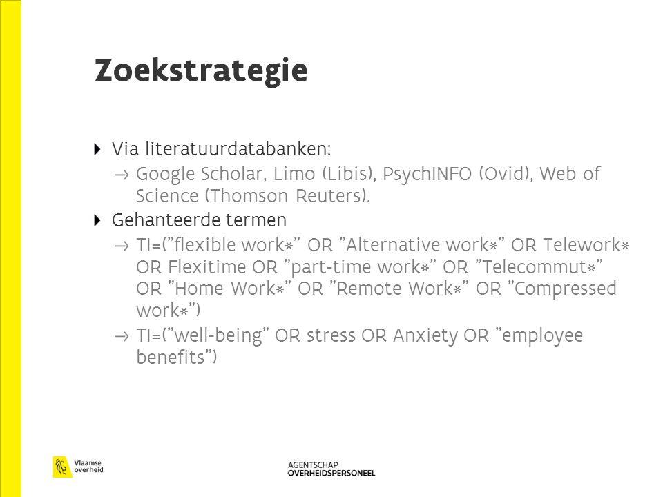 Zoekstrategie Via literatuurdatabanken: Google Scholar, Limo (Libis), PsychINFO (Ovid), Web of Science (Thomson Reuters).