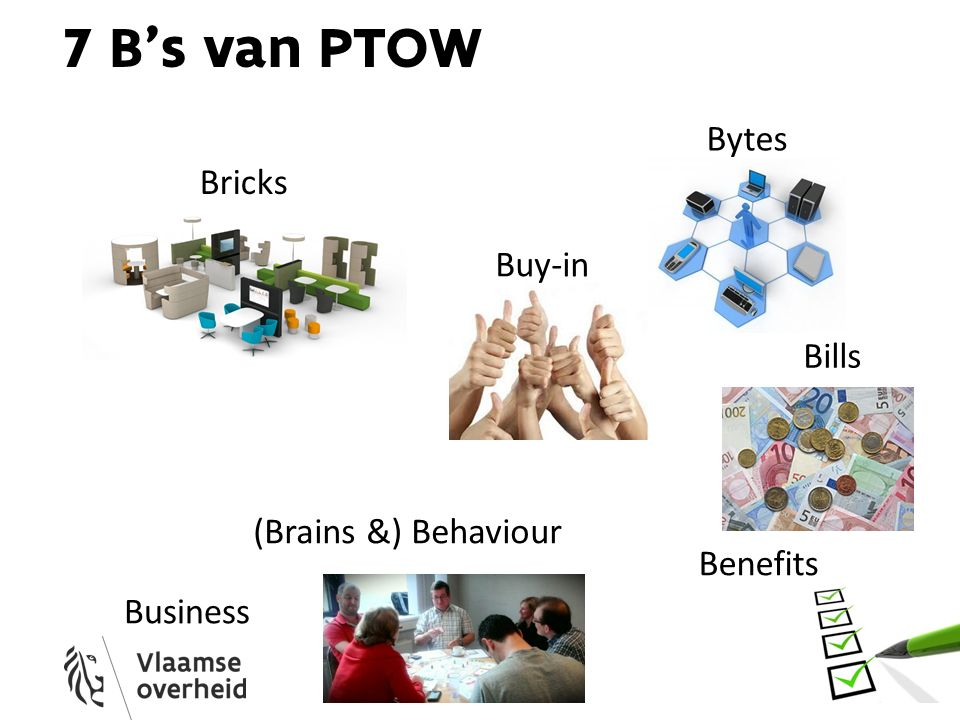7 B's van PTOW Bricks Bytes (Brains &) Behaviour Bills Business Buy-in Benefits