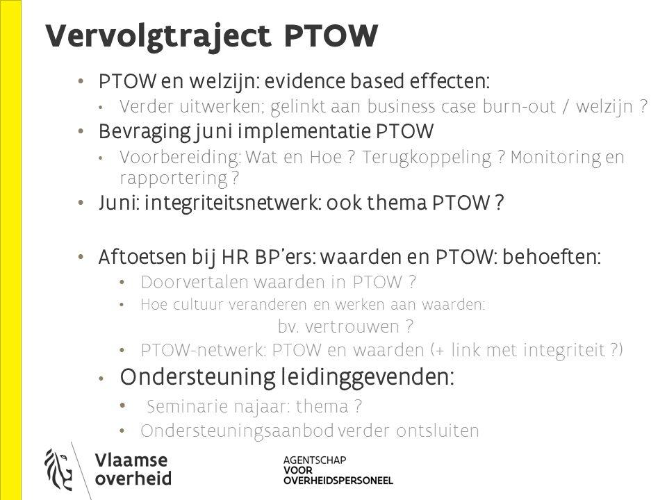Vervolgtraject PTOW PTOW en welzijn: evidence based effecten: Verder uitwerken; gelinkt aan business case burn-out / welzijn .