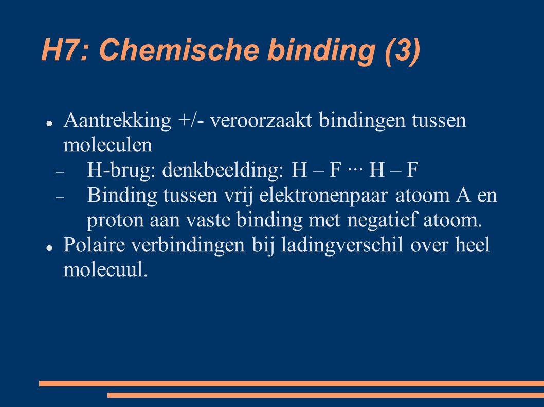 H7: Chemische binding (3) Aantrekking +/- veroorzaakt bindingen tussen moleculen  H-brug: denkbeelding: H – F ··· H – F  Binding tussen vrij elektronenpaar atoom A en proton aan vaste binding met negatief atoom.