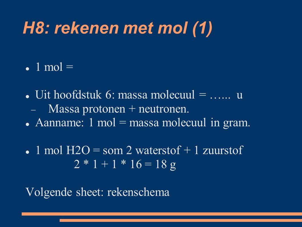 H8: rekenen met mol (1) 1 mol = Uit hoofdstuk 6: massa molecuul = …...