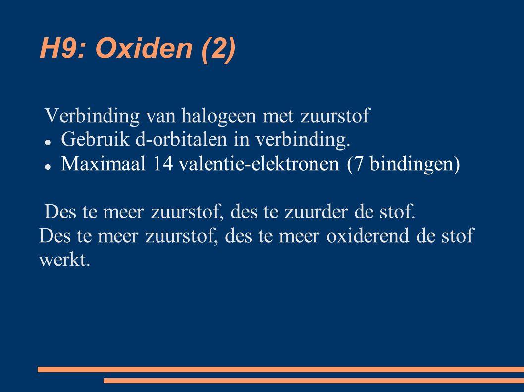 H9: Oxiden (2) Verbinding van halogeen met zuurstof Gebruik d-orbitalen in verbinding.