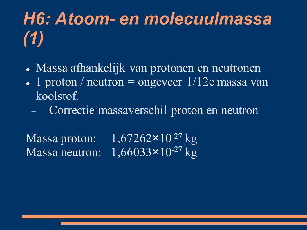 H6: Atoom- en molecuulmassa (1) Massa afhankelijk van protonen en neutronen 1 proton / neutron = ongeveer 1/12e massa van koolstof.