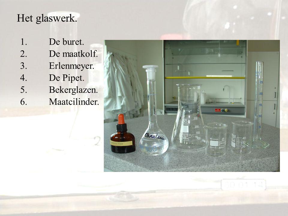 Het glaswerk. 1.De buret. 2.De maatkolf. 3.Erlenmeyer. 4.De Pipet. 5.Bekerglazen. 6.Maatcilinder.