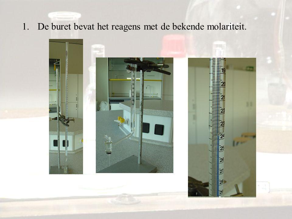 1.De buret bevat het reagens met de bekende molariteit.