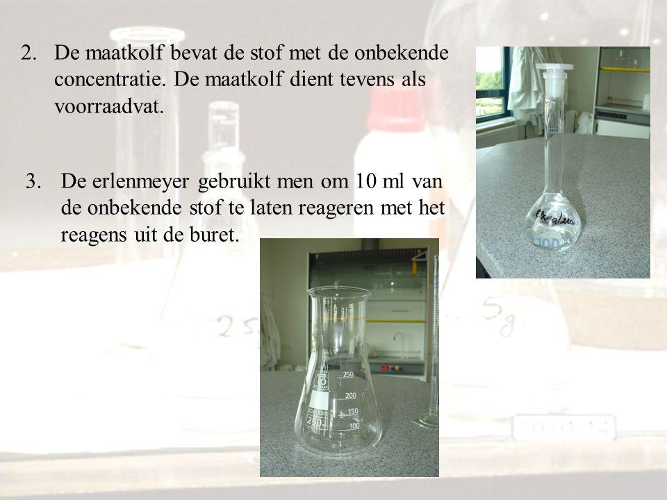 2.De maatkolf bevat de stof met de onbekende concentratie. De maatkolf dient tevens als voorraadvat. 3.De erlenmeyer gebruikt men om 10 ml van de onbe