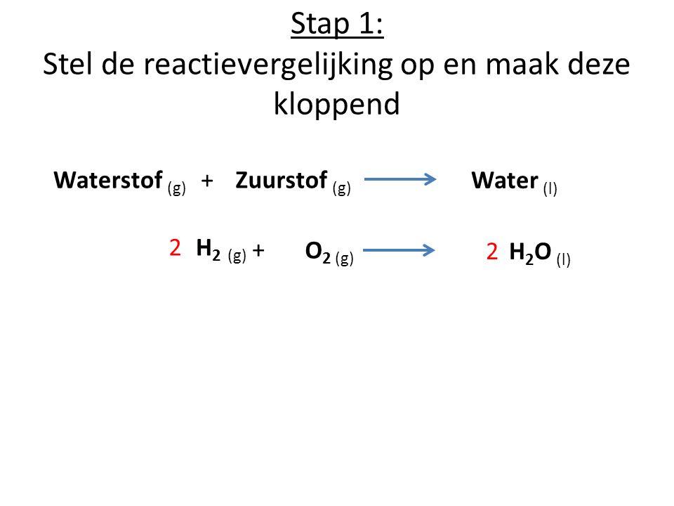 Stap 1: Stel de reactievergelijking op en maak deze kloppend Waterstof (g) +Zuurstof (g) Water (l) H 2 O (l) 2 H 2 (g) O 2 (g) 2 +