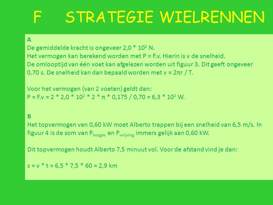 F STRATEGIE WIELRENNEN A De gemiddelde kracht is ongeveer 2,0 * 10 2 N. Het vermogen kan berekend worden met P = F.v. Hierin is v de snelheid. De omlo