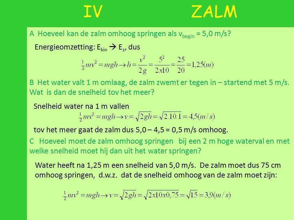 IV ZALM A Hoeveel kan de zalm omhoog springen als v begin = 5,0 m/s? B Het water valt 1 m omlaag, de zalm zwemt er tegen in – startend met 5 m/s. Wat