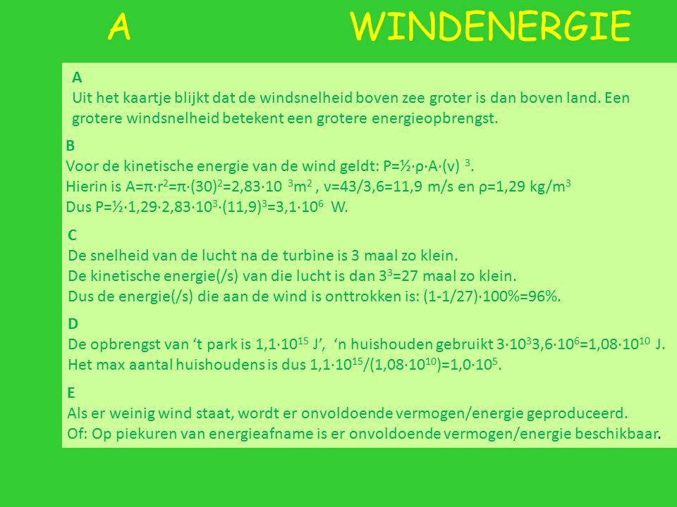 A WINDENERGIE A Uit het kaartje blijkt dat de windsnelheid boven zee groter is dan boven land. Een grotere windsnelheid betekent een grotere energieop