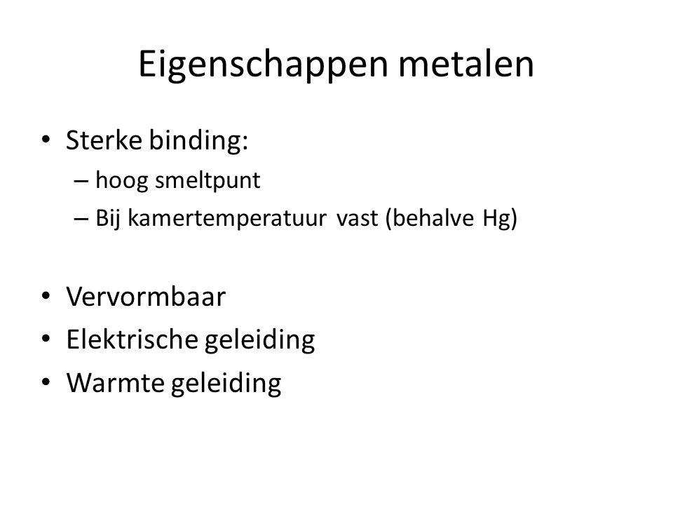 Eigenschappen metalen Sterke binding: – hoog smeltpunt – Bij kamertemperatuur vast (behalve Hg) Vervormbaar Elektrische geleiding Warmte geleiding
