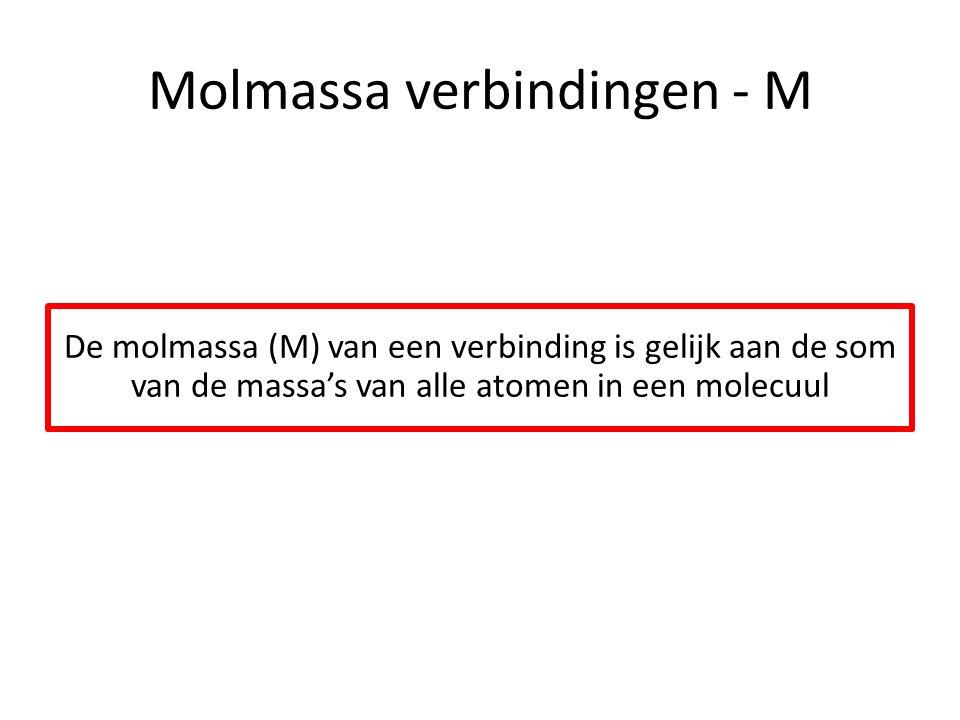 Molmassa verbindingen - M De molmassa (M) van een verbinding is gelijk aan de som van de massa's van alle atomen in een molecuul