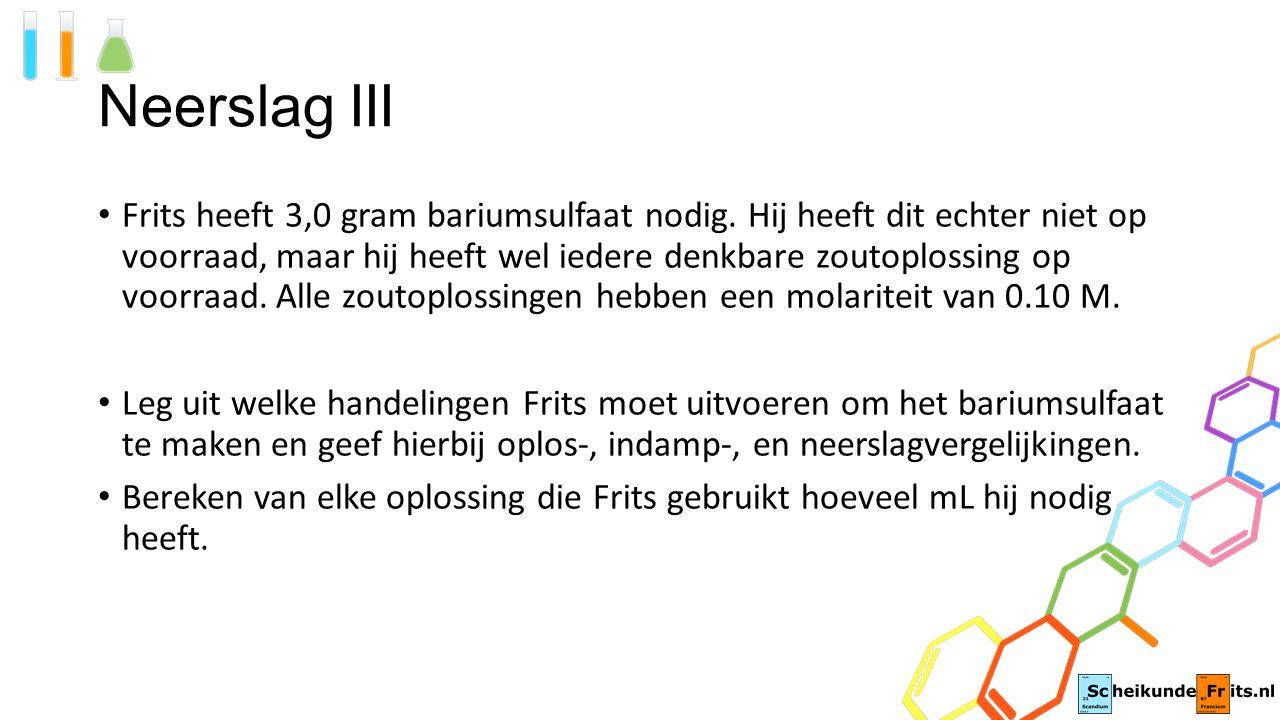 Neerslag III Frits heeft 3,0 gram bariumsulfaat nodig.