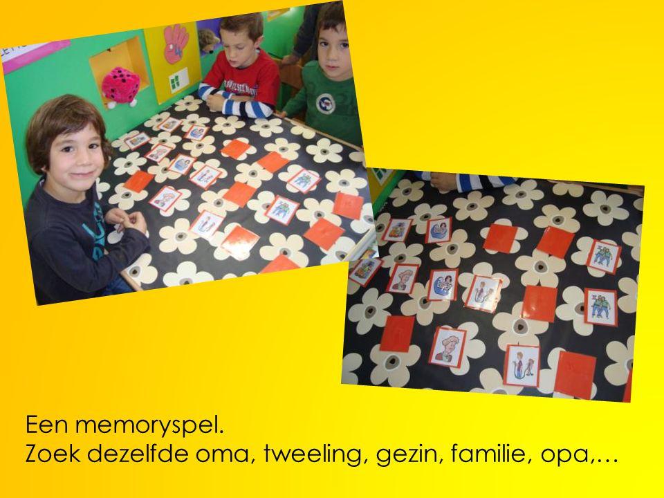 Een memoryspel. Zoek dezelfde oma, tweeling, gezin, familie, opa,…