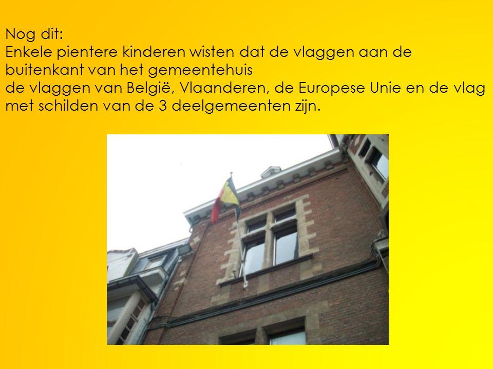 Nog dit: Enkele pientere kinderen wisten dat de vlaggen aan de buitenkant van het gemeentehuis de vlaggen van België, Vlaanderen, de Europese Unie en de vlag met schilden van de 3 deelgemeenten zijn.