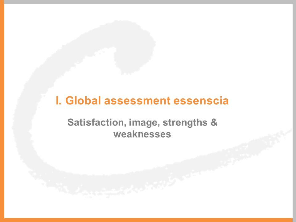 I. Global assessment essenscia Satisfaction, image, strengths & weaknesses