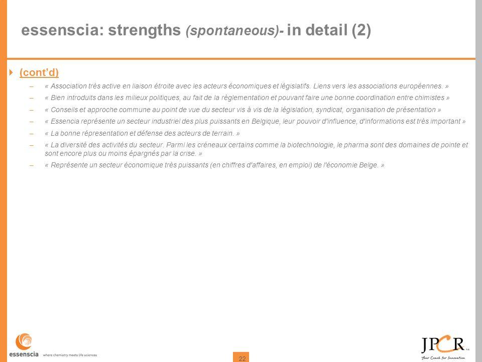 22 essenscia: strengths (spontaneous)- in detail (2)  (cont'd) –« Association très active en liaison étroite avec les acteurs économiques et législatifs.