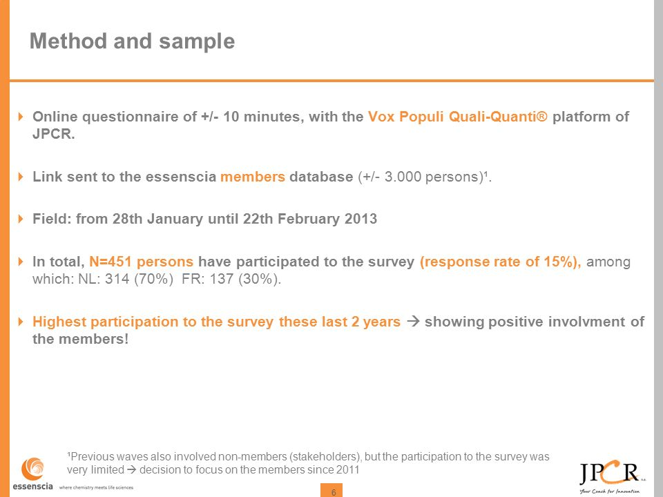 6 Method and sample  Online questionnaire of +/- 10 minutes, with the Vox Populi Quali-Quanti® platform of JPCR.  Link sent to the essenscia members