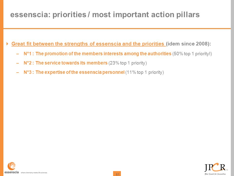 61 essenscia: priorities / most important action pillars  Great fit between the strengths of essenscia and the priorities (idem since 2008): –N°1 : T