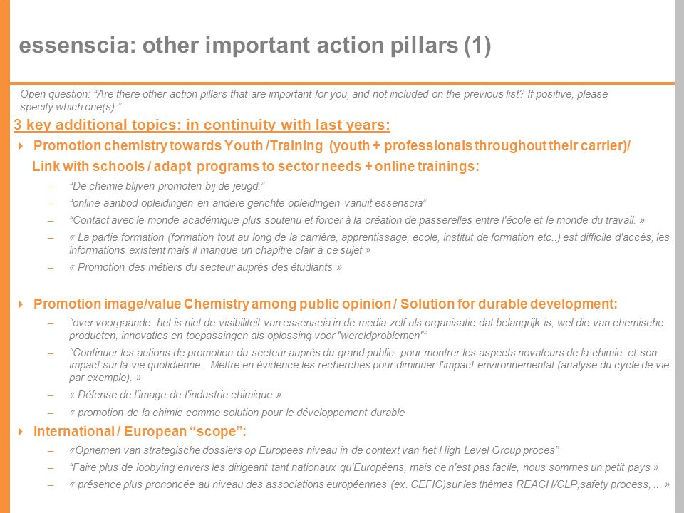 63 essenscia: other important action pillars (1) 3 key additional topics: in continuity with last years:  Promotion chemistry towards Youth /Training