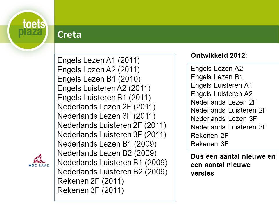 Creta Engels Lezen A1 (2011) Engels Lezen A2 (2011) Engels Lezen B1 (2010) Engels Luisteren A2 (2011) Engels Luisteren B1 (2011) Nederlands Lezen 2F (