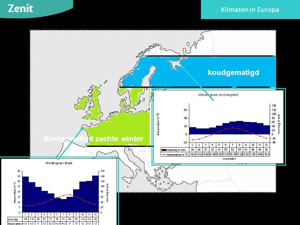 Klimaten in Europa Koelgematigd zachte winter koudgematigd
