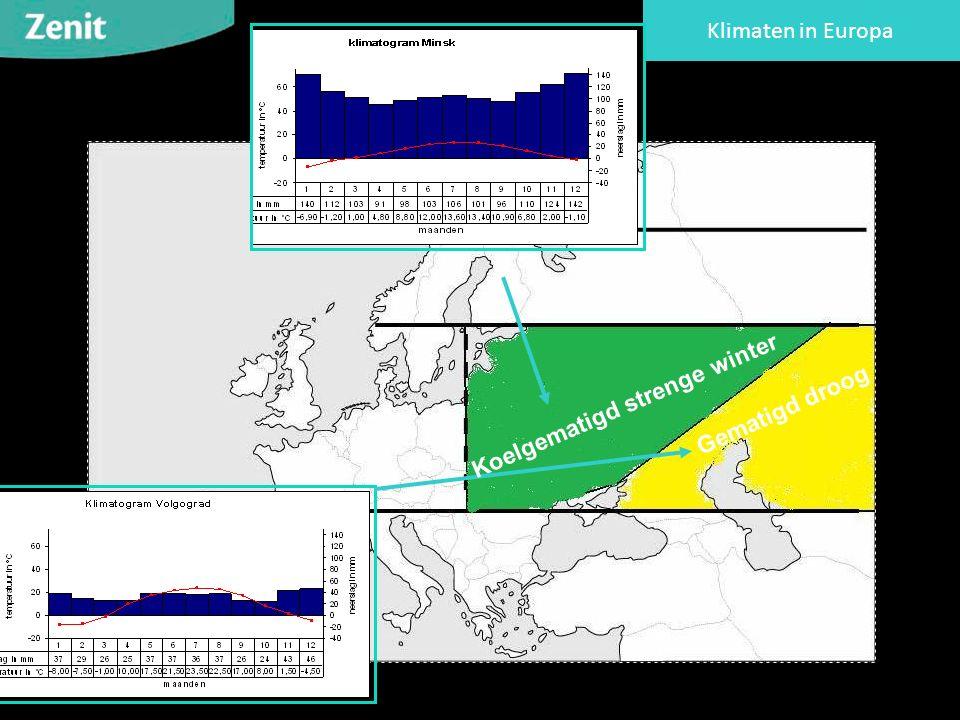 Klimaten in Europa Koelgematigd strenge winter Gematigd droog