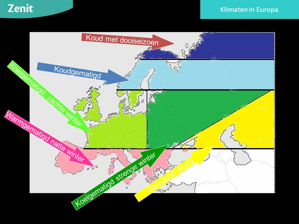 Koud met dooiseizoen Koudgematigd Koelgematigd, zachte winter Koelgematigd strenge winter Gematigd droog Warmgematigd natte winter Klimaten in Europa